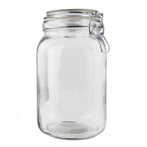 Clip Top Glass Kitchen Food Storage Jar 1.5L